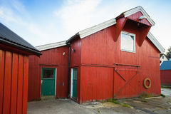 Vingvagen. Red wooden fishing barns Stock Photography