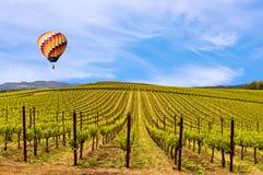 Vinhedos de Napa Valley, mola, montanhas, céu, nuvens, balão de ar quente foto de stock royalty free