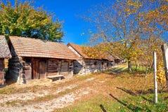 Vinhedos históricos da rua do vinho e opinião de madeira das casas de campo fotografia de stock