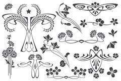Vinheta ajustada da flor do vetor em versões diferentes Fotos de Stock Royalty Free