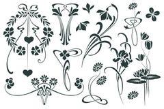 Vinheta ajustada da flor do vetor em versões diferentes Foto de Stock Royalty Free