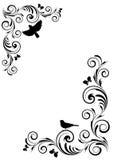 Vinheta do ângulo com ornamento e pássaros Fotografia de Stock Royalty Free