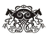 Vinheta simétrica estilizado com cangurus Foto de Stock Royalty Free