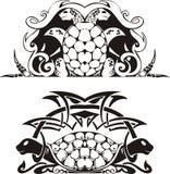 Vinheta simétrica estilizado com tartarugas Imagens de Stock