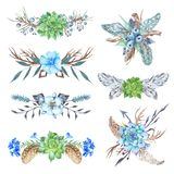 Vinheta tribal Forest Wreath Design Elements Set fotos de stock