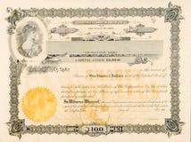 Vinheta velha da estrela da mulher de Ohio EUA do certificado conservado em estoque Imagens de Stock