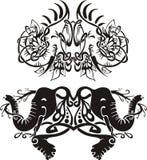 Vinhetas simétricas estilizados com elefantes Imagens de Stock Royalty Free