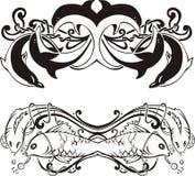 Vinhetas simétricas estilizados com golfinhos e peixes Imagem de Stock Royalty Free
