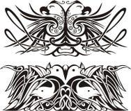 Vinhetas simétricas estilizados com pássaros Imagens de Stock Royalty Free