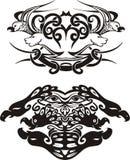 Vinhetas simétricas estilizados com pássaros Fotos de Stock