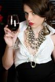 Vinho bebendo da mulher Imagem de Stock Royalty Free
