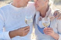 Vinho bebendo dos pares superiores felizes na praia do verão Fotografia de Stock Royalty Free