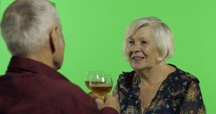 Vinho bebendo envelhecido superior da mulher com um companheiro idoso do homem na chave do croma video estoque