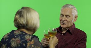 Vinho bebendo envelhecido superior do homem com um companheiro idoso da mulher na chave do croma vídeos de arquivo