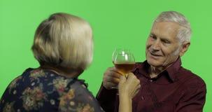Vinho bebendo envelhecido superior do homem com um companheiro idoso da mulher na chave do croma filme