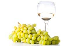 Vinho branco e uvas brancas Fotos de Stock Royalty Free