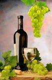 Vinho branco e uvas frescas Foto de Stock
