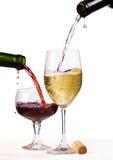 Vinho branco e vermelho Imagem de Stock