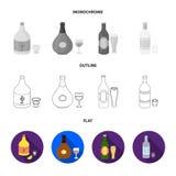 Vinho branco, vinho tinto, gim, sangria Ícones ajustados da coleção do álcool no plano, esboço, estoque monocromático do símbolo  Foto de Stock Royalty Free