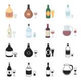 Vinho branco, vinho tinto, gim, sangria Ícones ajustados da coleção do álcool no preto, ilustração do estoque do símbolo do vetor Imagens de Stock Royalty Free