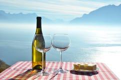 Vinho contra o lago geneva Foto de Stock Royalty Free