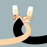 Vinho da bebida do homem e da mulher Os homens entregam e um vidro do champanhe Imagem de Stock