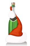 Vinho de Champagne e chapéu de Papai Noel ilustração royalty free