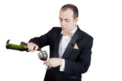 Vinho de derramamento Foto de Stock Royalty Free