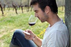 Vinho do gosto do homem no campo Foto de Stock Royalty Free