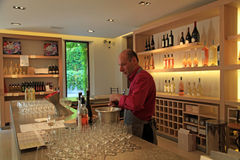 Vinho do gosto do Sommelier, castelo Sainte Roseline em Provence foto de stock