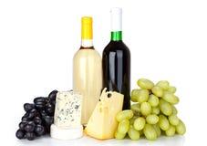 Vinho do queijo, o branco e o vermelho imagem de stock