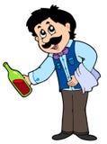 Vinho do serviço do empregado de mesa dos desenhos animados Fotos de Stock
