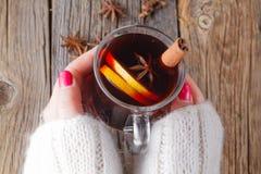 Vinho e especiarias ferventados com especiarias na tabela de madeira resistida Imagem de Stock Royalty Free