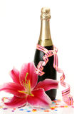 Vinho e flor Fotografia de Stock