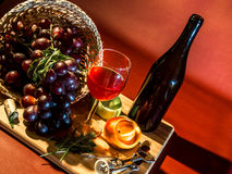 Vinho e frutas fotografia de stock