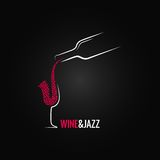 Vinho e fundo do projeto de conceito do jazz Fotografia de Stock Royalty Free