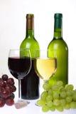 Vinho e grupo de uvas Fotos de Stock Royalty Free
