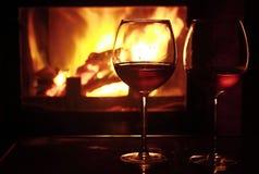 Vinho e incêndio Fotografia de Stock