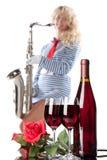 Vinho e música Imagem de Stock Royalty Free