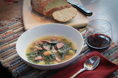 Vinho e pão da sopa Imagem de Stock Royalty Free