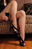 Vinho e pés Imagem de Stock Royalty Free
