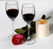 Vinho e rosas fotografia de stock