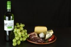 Vinho espanhol, uvas, queijo azul, prosciutto cortado e salame Fotografia de Stock Royalty Free