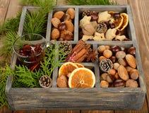Vinho, especiarias e porcas ferventados com especiarias Imagem de Stock Royalty Free