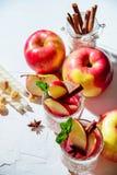 vinho ferventado com especiarias em vidros em um fundo claro, Apple da rede de pesca, canela, vinho Foto de Stock Royalty Free