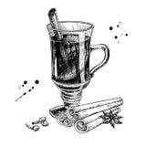 Vinho ferventado com especiarias com vara de canela, anis de estrela e esboço do cravo-da-índia Ha ilustração do vetor
