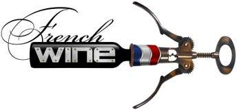 Vinho francês - Corkscrew e garrafa Imagem de Stock