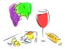 Vinho francês, placa de queijo e pão francês Foto de Stock Royalty Free