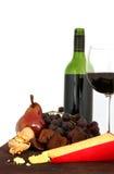 Vinho, fruta e queijo Foto de Stock