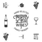 Vinho, logotipo da adega e ícones, elementos Bebida, símbolo da bebida alcoólica, monograma Garrafa de vinho, vidro, uva, folha ilustração do vetor